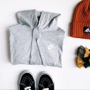 Nike grey long line lightweight  shirt hoodie